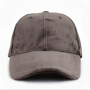 Gray Velvet Baseball Cap